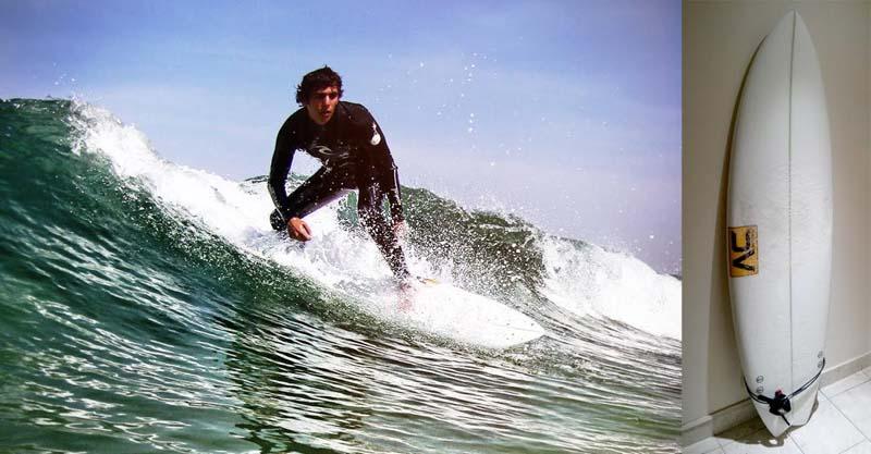 """Surf atual com sua 6'0""""."""