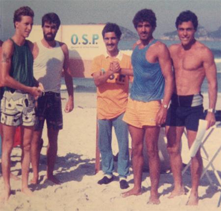O começo da OSP em 1985. Pedro Muller, Fred D'orey, Mario Cesar Pereira Carneiro, Valdir Vargas e Ricardo Bocão. Foto: Roberto Price