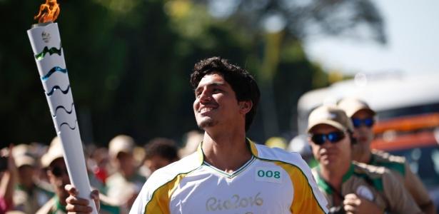 Gabriel Medina entrando no clima olímpico.